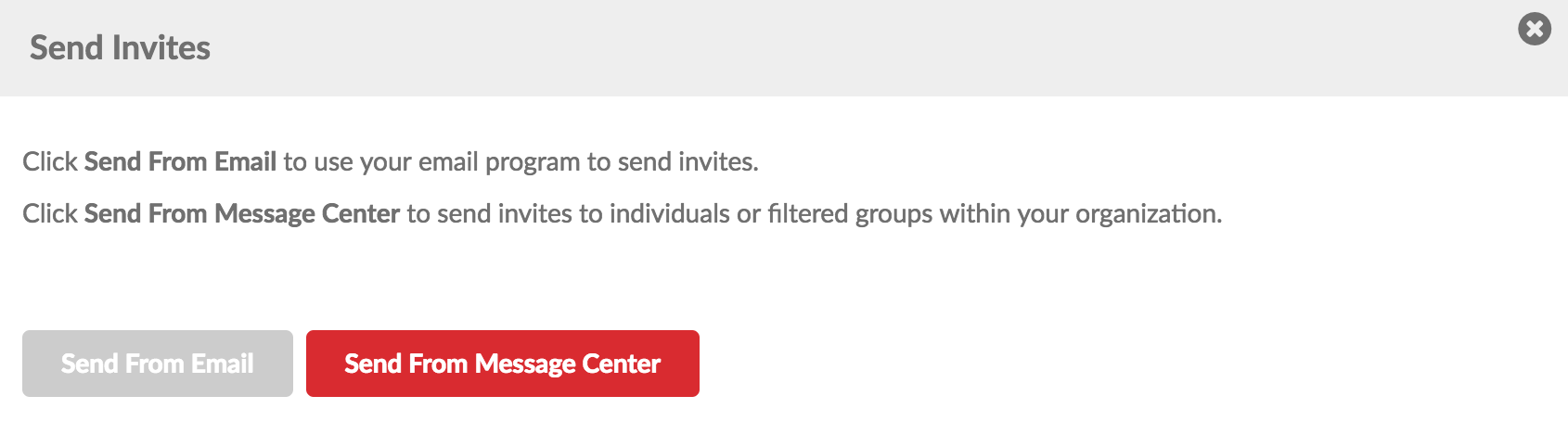 Evo Engage Send from Message Center