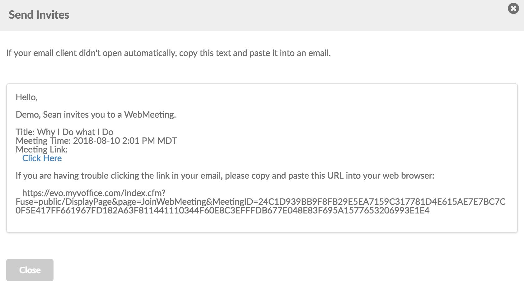 Evo Engage Send invites emails