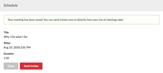 Evo Engage Send invites